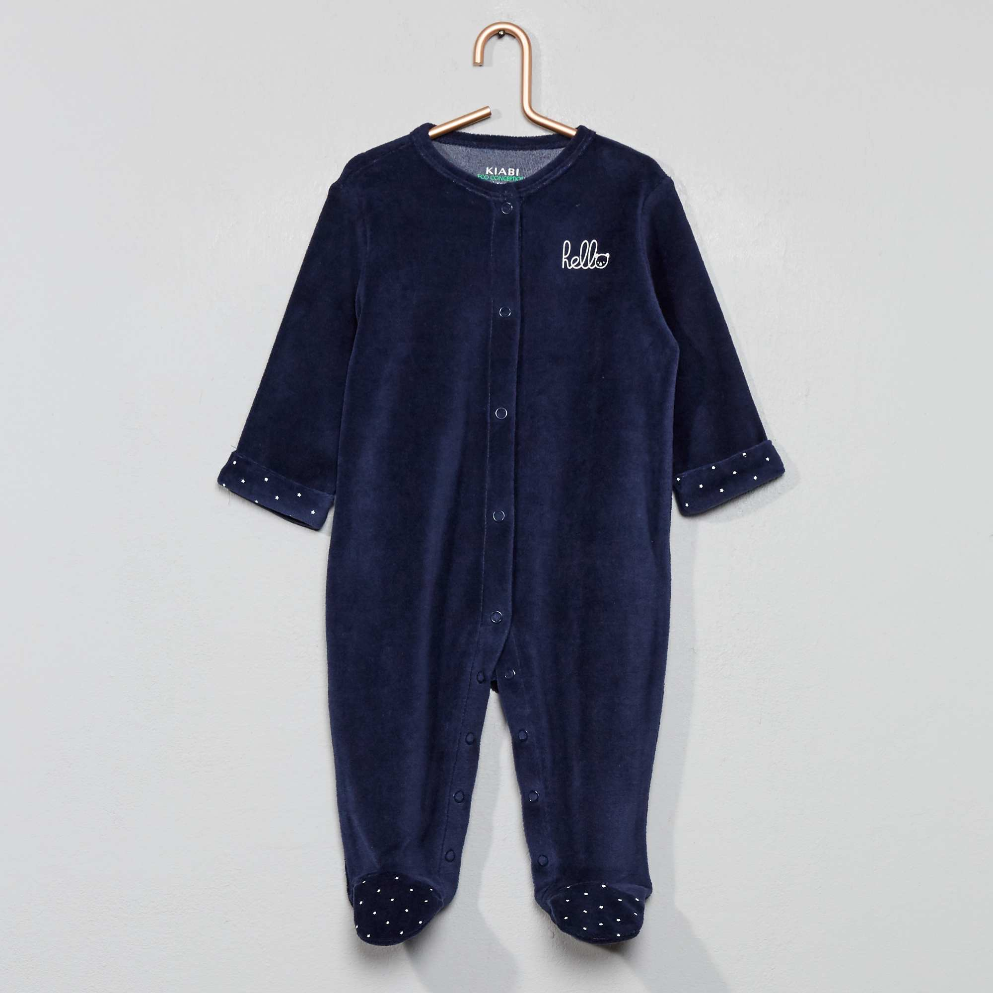 0eb1f31c1 Pijama de terciopelo 'hello' de algodón orgánico Bebé niño - azul ...