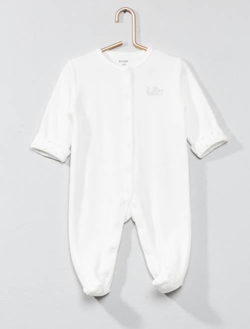 Pijama de terciopelo 'hello' de algodón orgánico                                                                     BLANCO