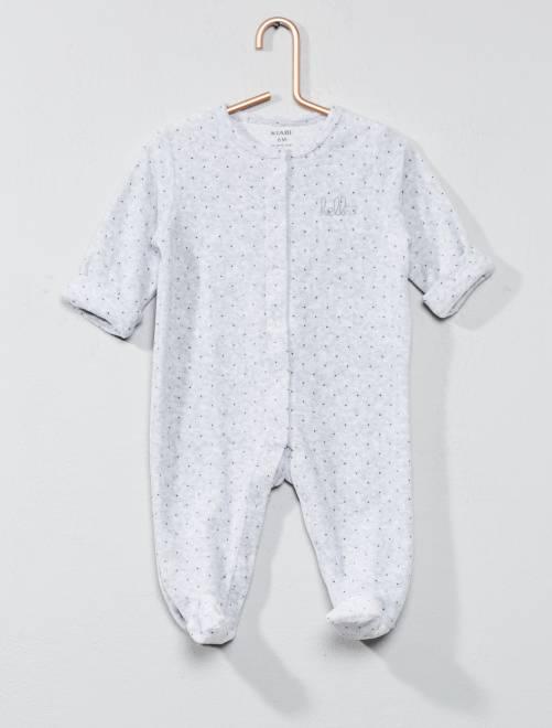 Pijama de terciopelo 'hello' de algodón orgánico                                                                             GRIS