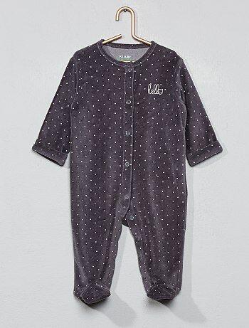 d9a14b36e Pijama de terciopelo 'hello' de algodón orgánico - Kiabi