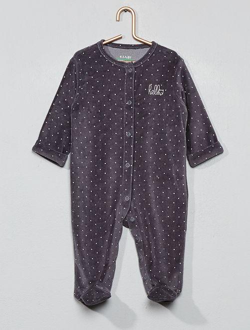 Pijama de terciopelo 'hello' de algodón orgánico                                                                                         GRIS Bebé niño