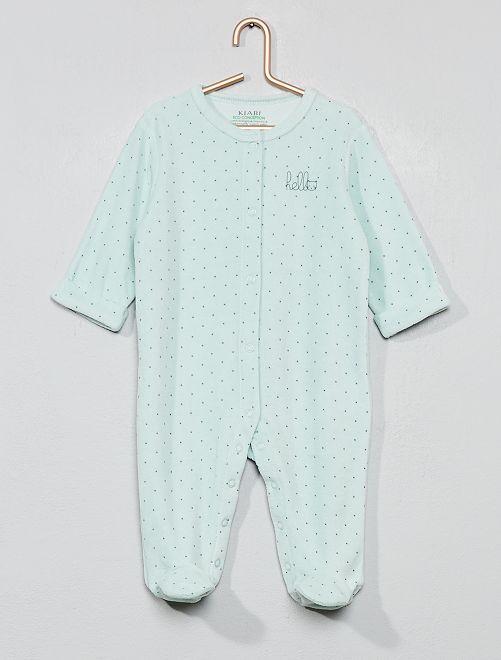 Pijama de terciopelo 'hello' de algodón orgánico                                                                                         VERDE Bebé niño