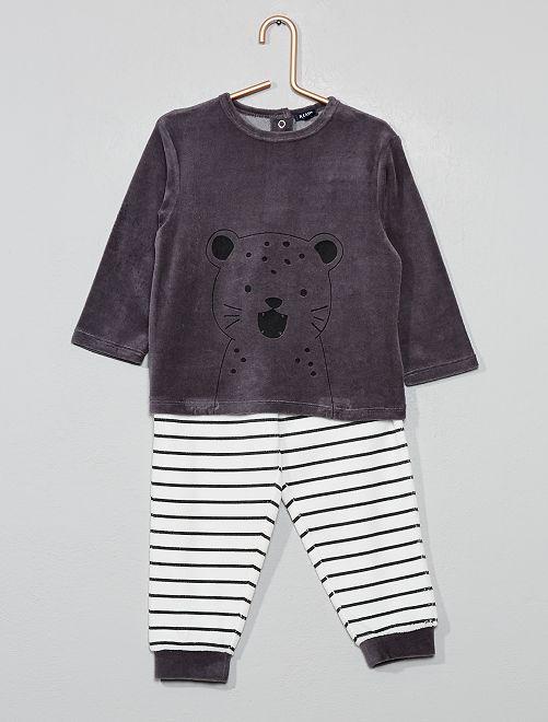 Pijama de terciopelo 'oso'                                 GRIS