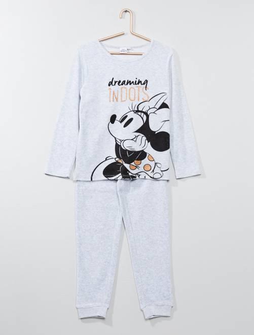 Pijama de terciopelo 'Minnie'                             GRIS Chica