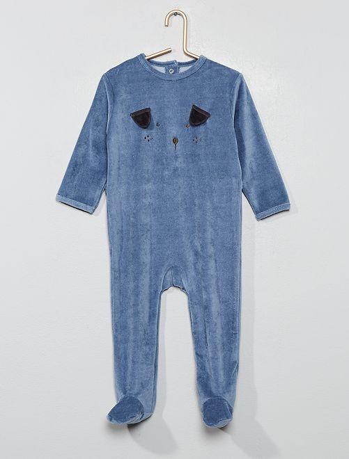 Pijama de terciopelo 'perro'                                                                                         AZUL