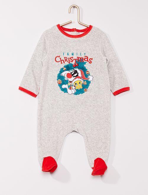 Pijama de terciopelo 'Piolín y Silvestre'                             GRIS