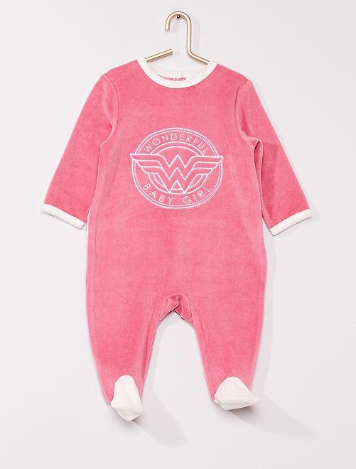 Pijama de terciopelo 'Wonder Woman' de 'DC Comics'                             rosa/blanco