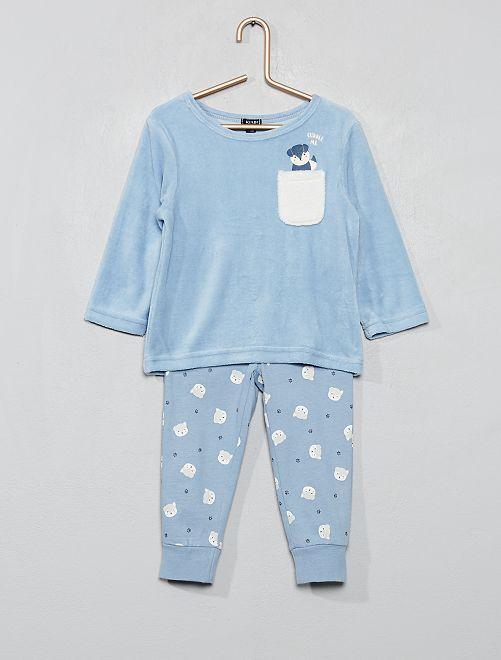 Pijama de terciopelo 'zorro'                                         AZUL