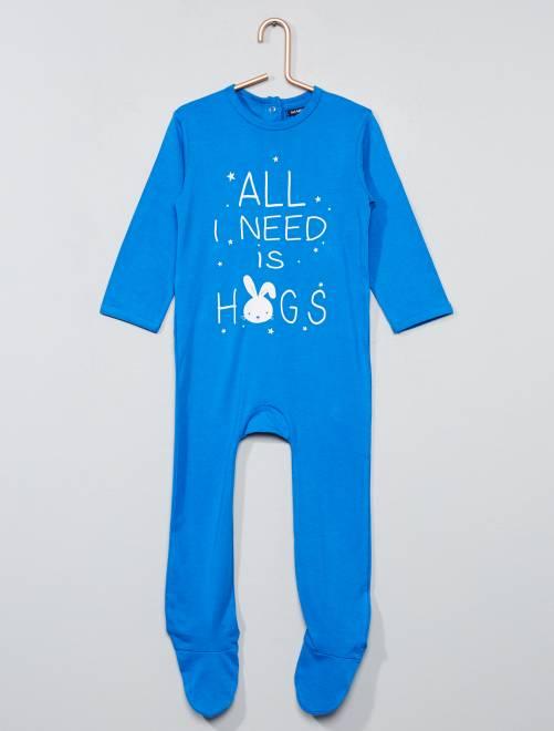 Pijama estampado con pies azul Bebé niña