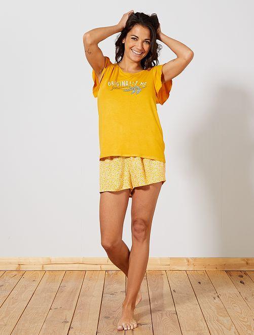 Pijama estampado de punto vaporoso                                                                 AMARILLO Lencería de la s a la xxl