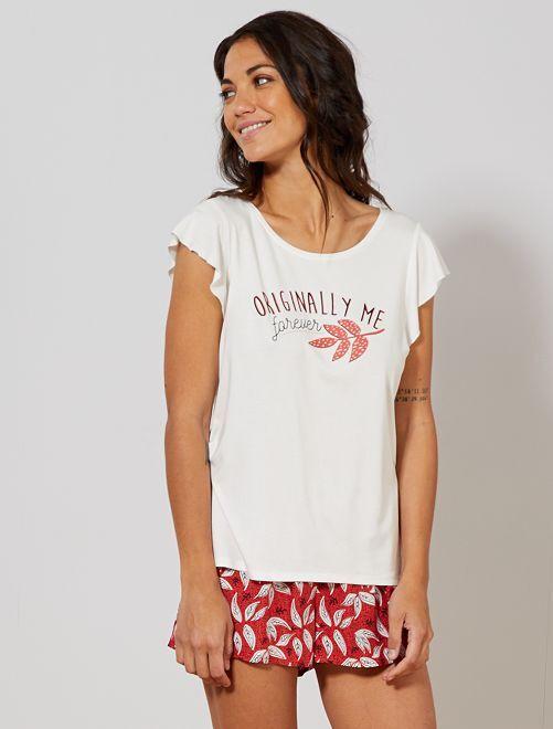 Pijama estampado de punto vaporoso                                             ROJO