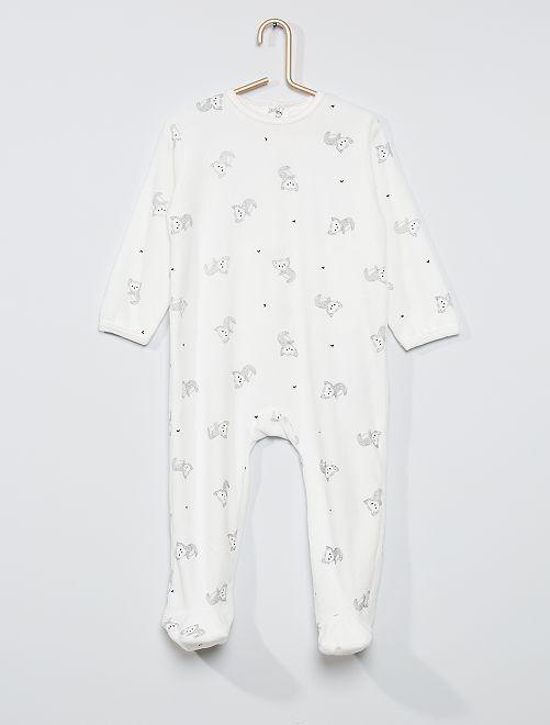 Pijama estampado eco-concepción                                                                                                                                                                                                                                                                 BLANCO