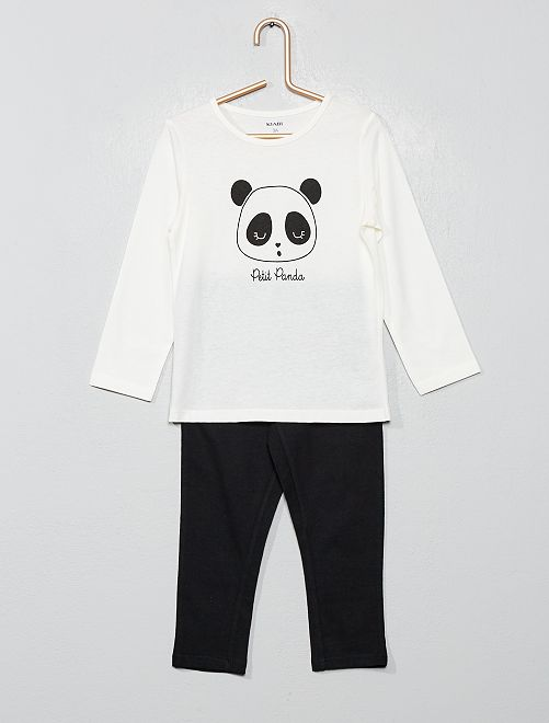 Pijama estampado 'panda'                                                                                         BLANCO