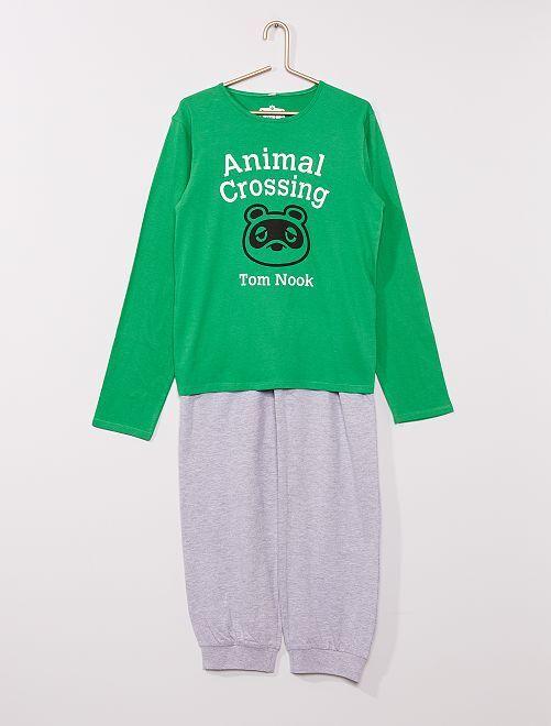 Pijama largo 'Animal Crossing'                             verde