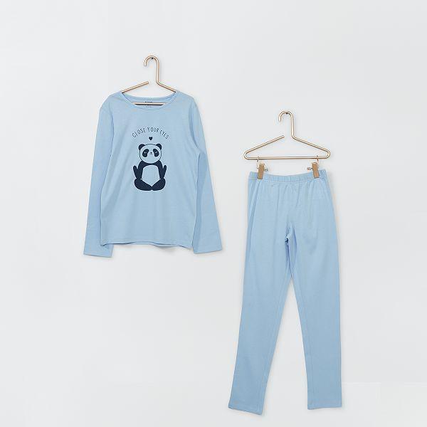 Pijama Largo Nina 3 12 Anos Azul Kiabi 5 00