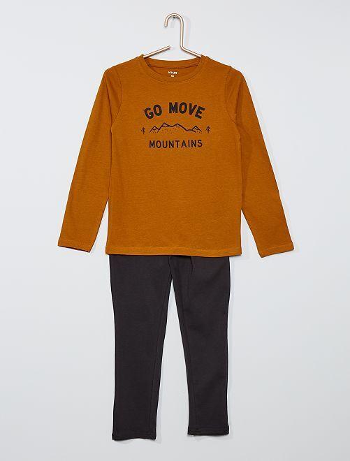 Pijama largo                                                                 Castaño/negro