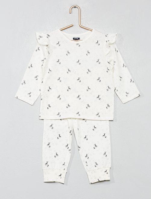 Pijama largo 'cebra'                                         BLANCO Bebé niña
