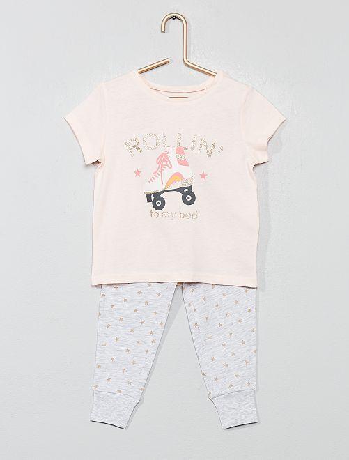Pijama largo con brillos                                         ROSA