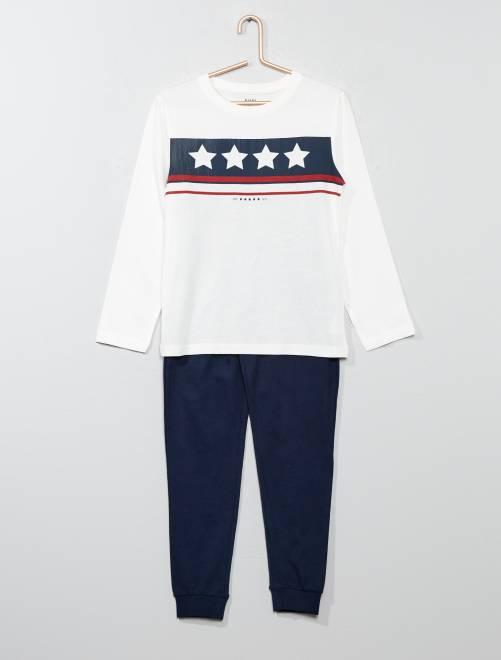 Pijama largo con estampado                                                     AZUL Chico