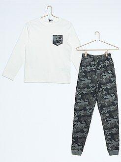 Niño 10-18 años Pijama largo con estampado de camuflaje