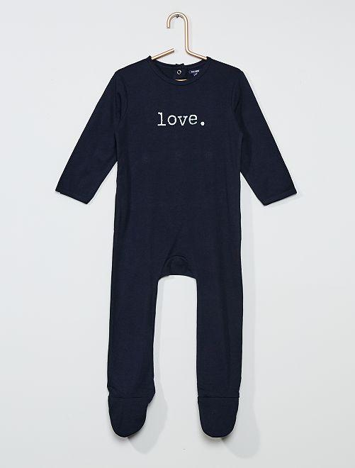 Pijama largo con mensaje                                                         AZUL