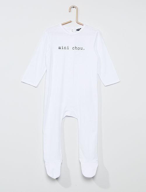 Pijama largo con mensaje                                                                                         BLANCO