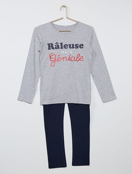 Pijama largo con mensaje                             gris/marino