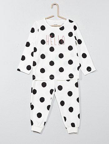 Pijama largo con mensaje 'hello' - Kiabi