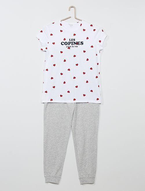 Pijama largo 'corazón'                                         BLANCO