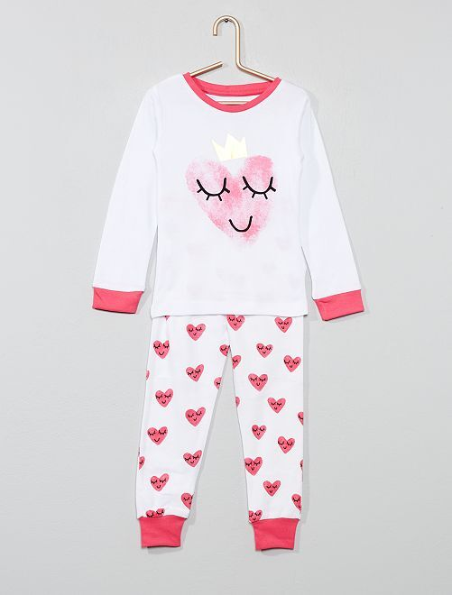 Pijama largo 'corazón'                             blanco/rosa
