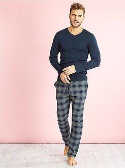 Pijamas, batas - Pijama largo de 2 piezas de algodón - Kiabi