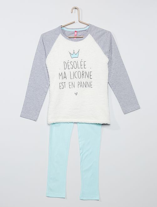 Pijama largo de 2 piezas                             gris/azul