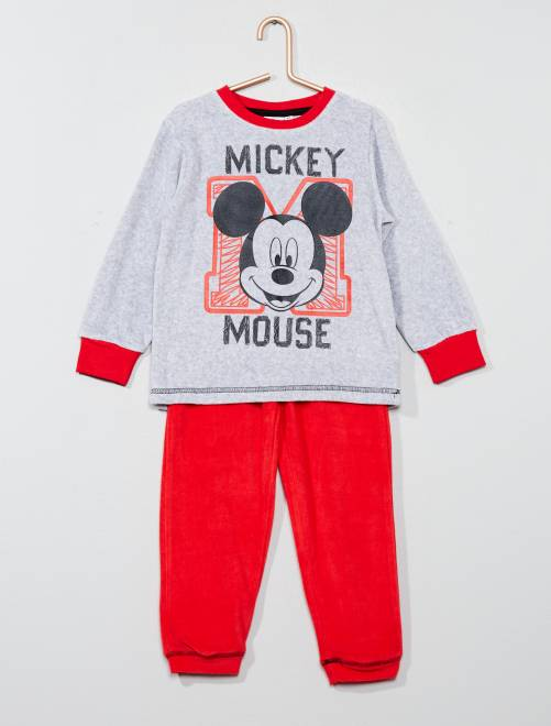 Pijama largo de 2 piezas 'Mickey Mouse'                             gris/rojo Chico