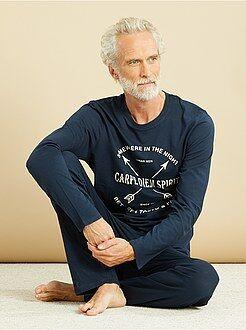 Hombre Pijama largo de algodón estampado