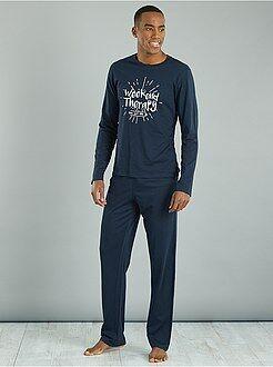 Pijamas, batas - Pijama largo de algodón estampado - Kiabi