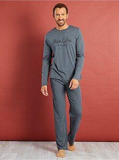 Pijama largo de algodón estampado