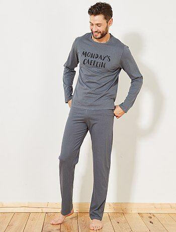 Pijama largo de algodón estampado - Kiabi