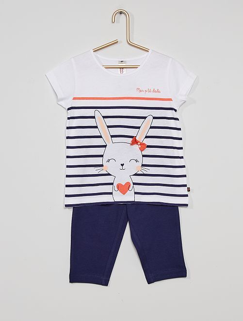 Pijama largo de 'conejo'                                         blanco/azul