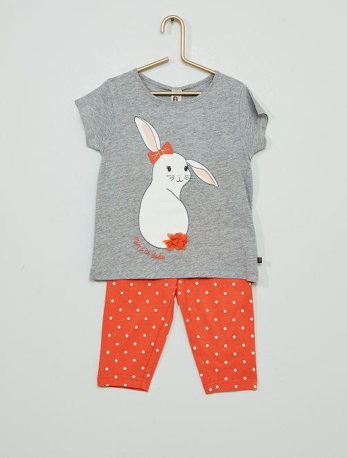 Pijama largo de 'conejo'                                         rojo/gris