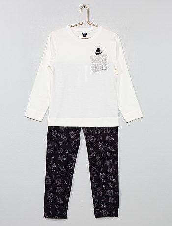 Pijama largo de punto con estampado - Kiabi