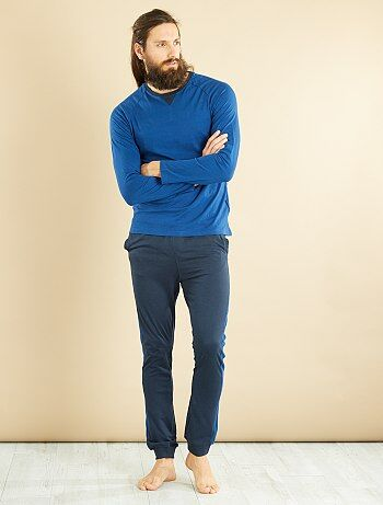 Pijama largo de punto de algodón puro - Kiabi
