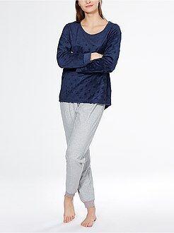 Pijamas, babydoll - Pijama largo de punto de felpa y franela