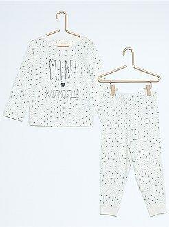 Pijama largo de punto de jersey estampado - Kiabi