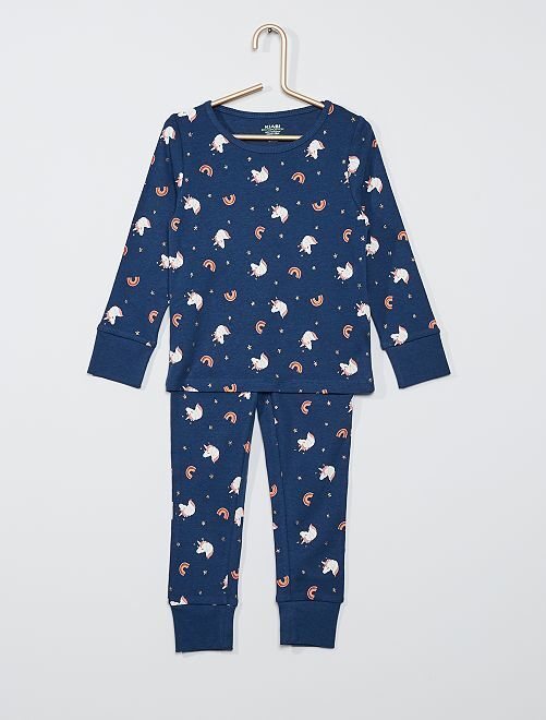 Pijama largo de punto 'eco-concepción'                                                                 AZUL