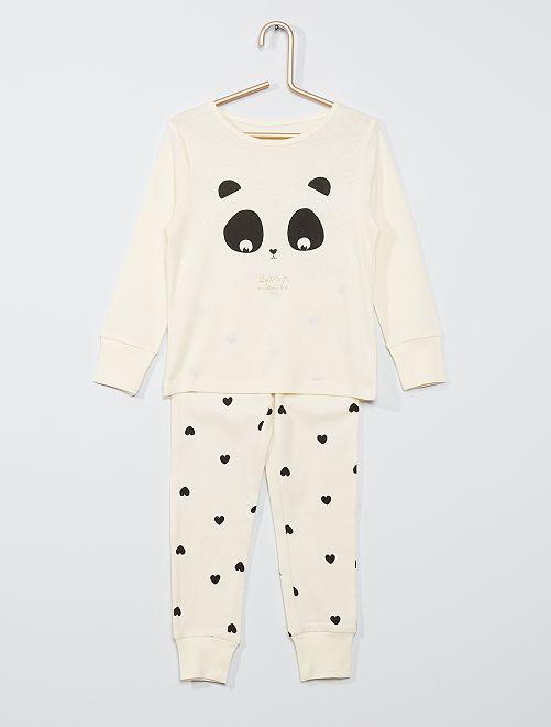 Pijama largo de punto 'eco-concepción'                                                     BLANCO