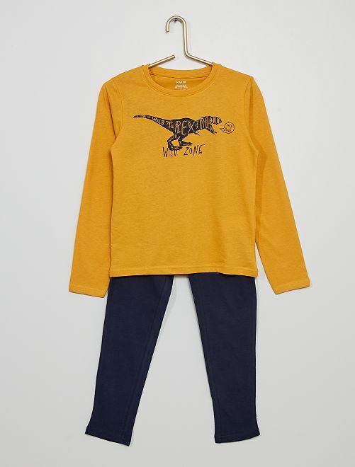Pijama largo de punto estampado                                                                                         AMARILLO