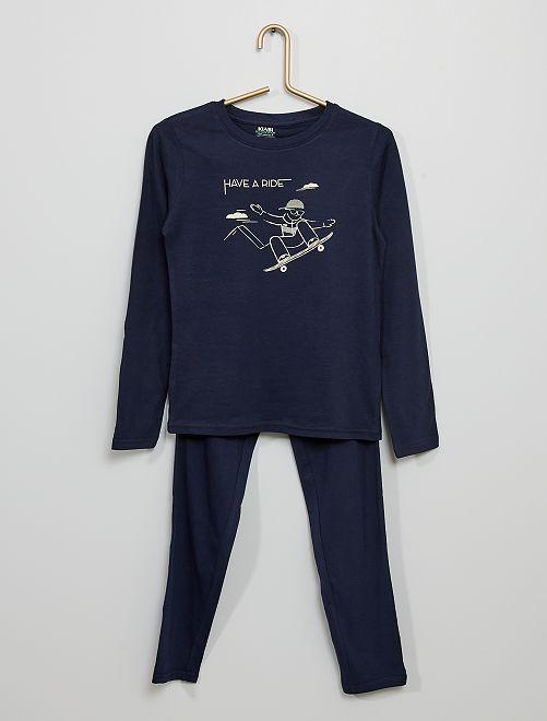 Pijama largo de punto estampado                                                                                         AZUL
