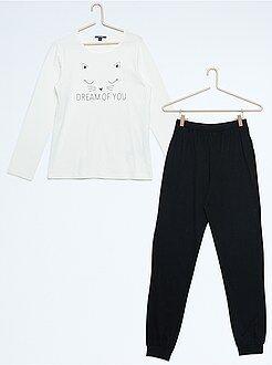 Pijamas - Pijama largo de punto estampado 'gato'