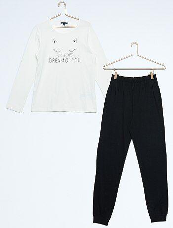 Pijama largo de punto estampado 'gato' - Kiabi