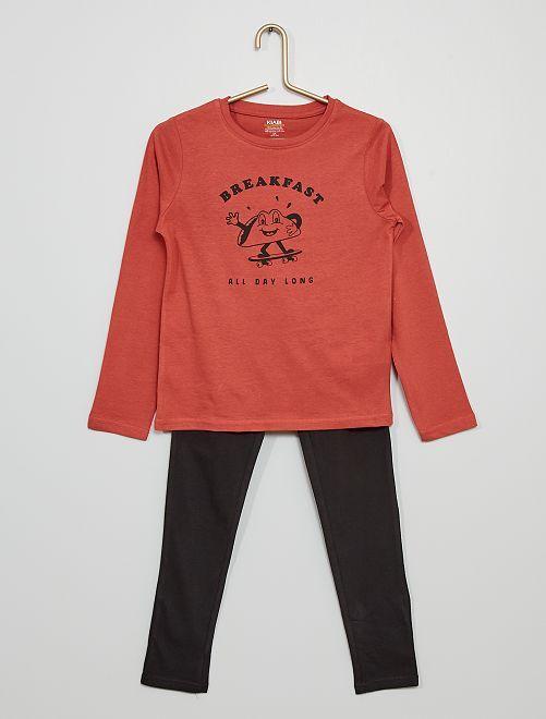 Pijama largo de punto estampado                                                                                         ROSA